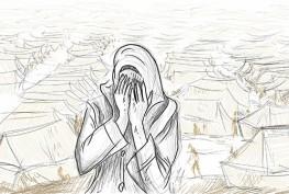 Syrienne en pleurs et camp de rfugis syriens en arrire-plan