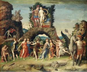 """Figura 7: """"Il Parnaso"""" dipinto di Andrea Mantegna nel 1497, per lo studiolo di Isabella d'Este, attualmente conservato al Museo del Louvre, Parigi"""