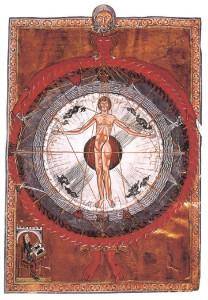 """Figura 5: """"Macrocosmo e Microcosmo"""", visione rappresentata nel """"Liber Divinorum Operum"""" di Hildegarda di Bingen"""