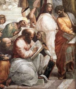 """Figura 4: Pitagora rappresentato da Raffaello Sanzio ne """"La scuola di Atene"""", affresco conservato ai Musei Vaticani, dipinto fra il 1509 e il 1511 circa. In secondo piano è visibile Hypathia, unica figura femminile rappresentata"""
